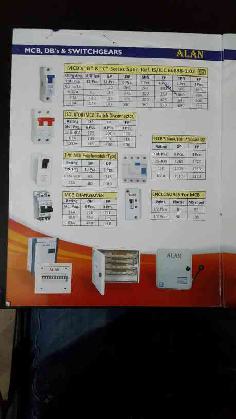 Mcb, isolator, mcb changeover & other relative items price list