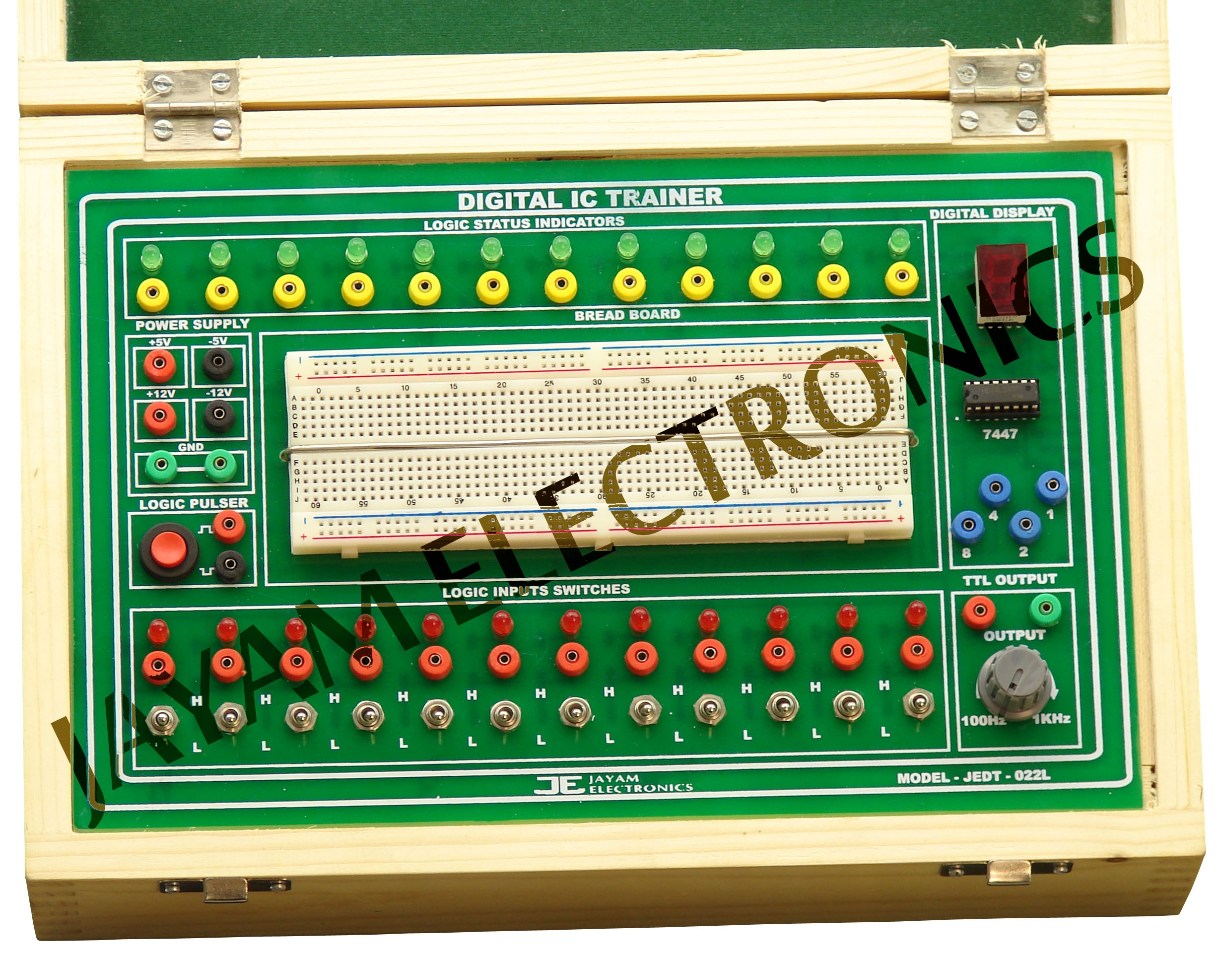 DIGITAL IC TRAINER MODEL: JEDT - 022 L  Contact: +91 9444001354 Send Mail: jayamelectronicsje@gmail.com Visit Our all Product: www.jayamelectronics.com   Fixed output power supply 5V 2A and ±12V 500mA Pulse Generator 100Hz to 1 KHz variable output  High low mono pulse output provided pulse switch  7 Segment LED display BCD 2 Digit Decoder 8 Logic input switches for Provided  H/L Signal 8 Logic status LED indicators  Connecting provision BS2 socket with 15 Patch cords Bread Board 1 No. Overload LED indicator with buzzer indicator and short circuit protection  Cabinet Closed type wood box       Input 230V ±10% 50 Hz AC  Price for Digital IC Trainer Kit IC Trainer Kit Price  Digital IC Trainer Kit Manufacturer in Chennai Digital IC Trainer Kit manufacturer in India Digital IC Trainer Kit Supplier in Chennai Digital IC Trainer Kit Supplier in India Supplier for Digital IC Trainer Kit in Chennai Supplier for Digital IC Trainer Kit in India Digital IC Trainer Kit price Digital IC Trainer Kit service center in Chennai Digital IC Trainer Kit service center in Tamil Nadu   Digital IC Trainer Kit Manufacturer in Chennai JAYAM Electronics Digital IC Trainer Kit manufacturer in India JAYAM Electronics Digital IC Trainer Kit Supplier in Chennai JAYAM Electronics Digital IC Trainer Kit Supplier in India JAYAM Electronics Digital IC Trainer Kit JAYAM Electronics Manufacturing Company of Digital IC Trainer Kit JAYAM Electronics Digital IC Trainer Kit service center in Chennai JAYAM Electronics Digital IC Trainer Kit service center in Tamil Nadu JAYAM Electronics