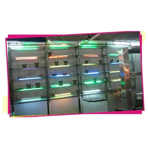 Glass Display Rack  Being a customer oriented firm, we are engaged in offering Glass Display Rack.We designed display rack with the help of our accomplished professionals using superb quality glass and cutting-edge technology.   We are located in Vadodara, Gujarat.  We are a renowned supplier of Glass Display Rack in Surat, Gujarat.