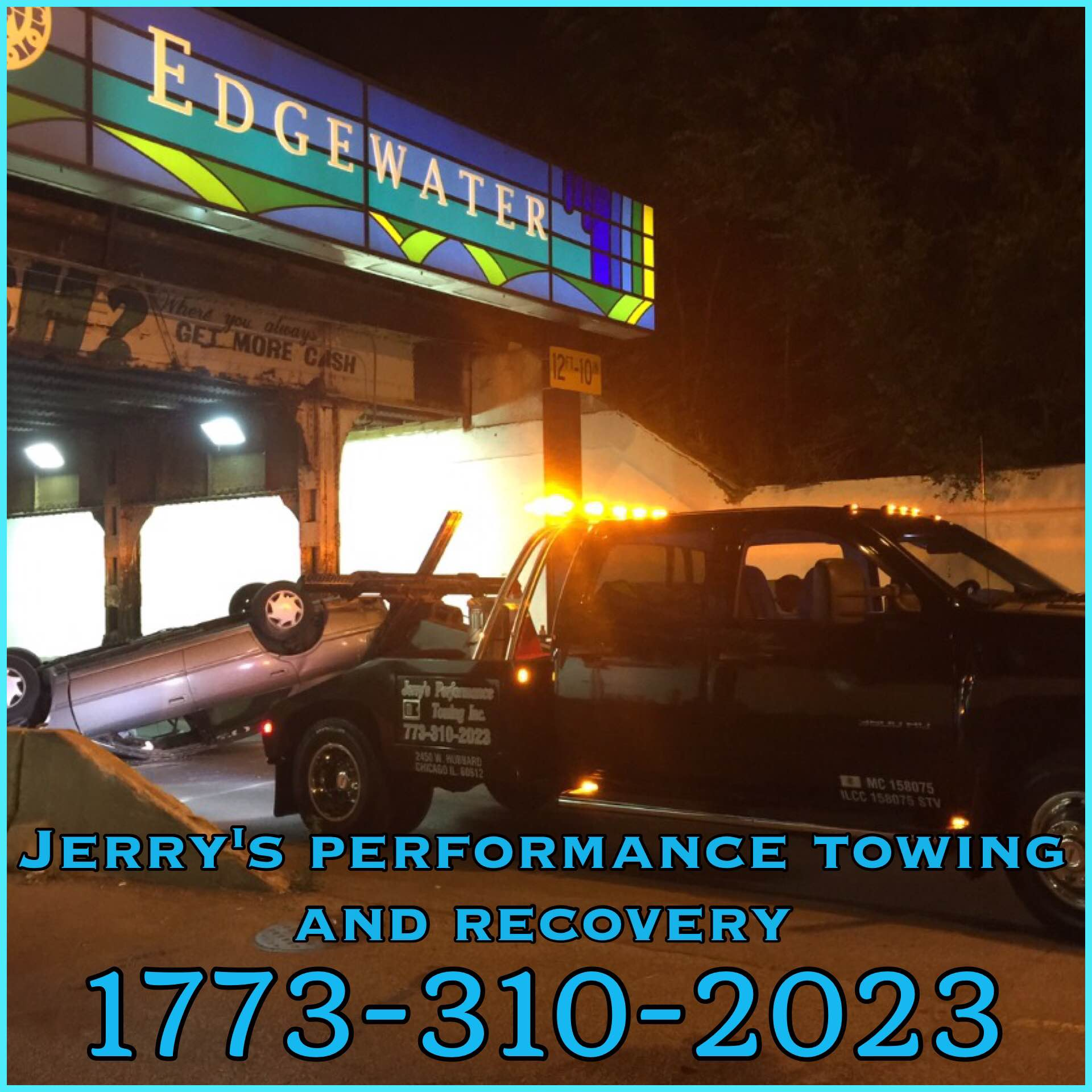 Jerry's performance towing and recovery.   Open • 24/7 Phone • (773-310-2023 ) Email •  jerryptowing16@gmail.com
