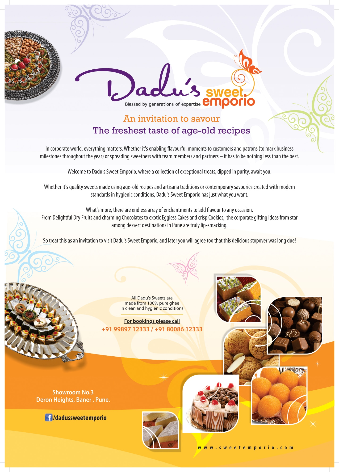 An invitation to savor The Freshest Taste Of Age-Old Recipes  In Corporate World, everything matters.Whether its enabling flavorful moments to Customers and Patrons (to mark Business Milestones throughout the year) or spreading sweetness with Team Members and Partners – It has to be nothing less than the Best.  Welcome to Dadu's Sweet Emporio, where a Collection of Exception Treats, dipped in Purity, awaits you.  Whether its Quality Traditional Sweets made using Age Old Recipes and Artisana Traditions or Contemporary Savories created with Modern Standards in Hygenic Conditions as laid by FSSAI, Dadu's Sweet Emporio has just what you want.  Whats more, there are endless array of enhancements to add flavor to any Occasion. From Delightful Dry Fruits and charming Chocolates to Exotic Eggless Cakes and Crisp Cookies, the Corporate Gifting Ideas from Star among Desert Destinations in Pune are truly lip-smacking.  So treat this as an invitation to visit Dadu's Sweet Emporio, and later you will agree too that this Delicious Stopover was Long Due!