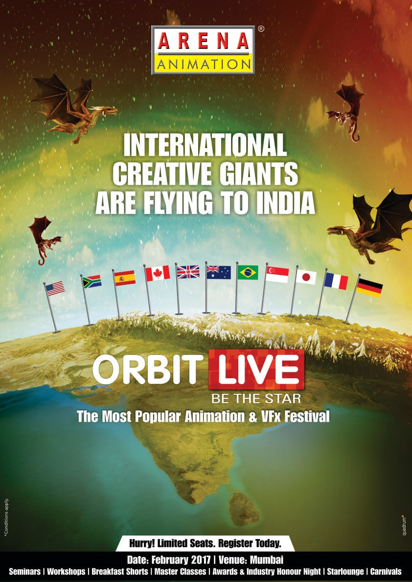 Want to make it big in the creative field? Orbit Live 2017 is a must attend event! Register here to be a part of all the fun: https://www.youtube.com/watch?v=u3-DklFFr-g  call us at C.G.Road Arena Animation -9824033133