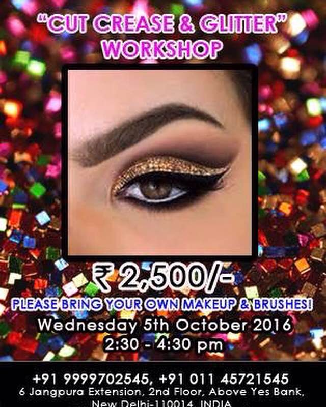 Join Cut Crease & Glitter 2hr workshop only at Anu Kaushik Academy Mama in Delhi NCR  For more information login to www.themama.in  Mama-Masters Academy of Makeup Art