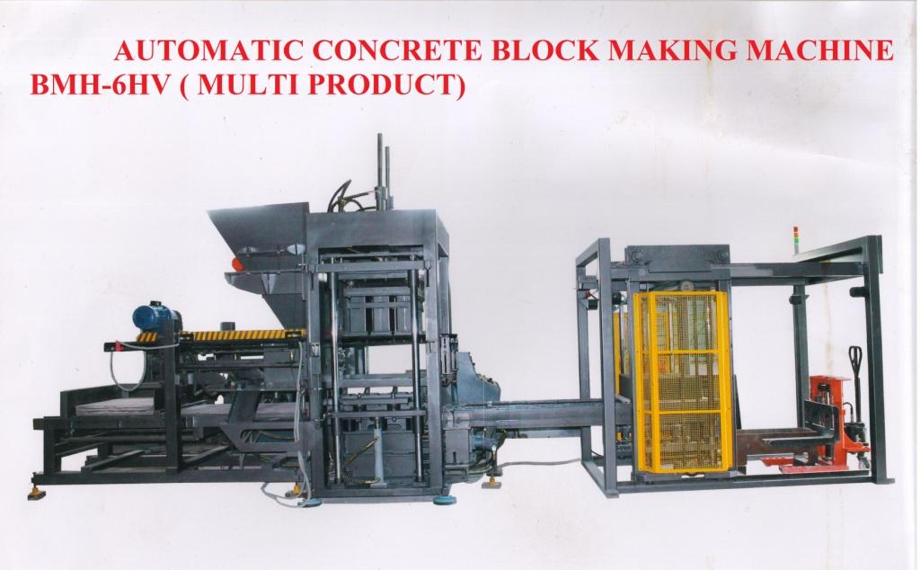 Fully Automatic Multi-Block Making Machine Model: BMH 6HV  Fully Automatic Multi Concrete Hollow, Solid, Paver Block and Fly Ash Brick Making Machine With Double Hydro Vibrator System, Two Layer Auto Feeding Compaction with Hydraulic Pressing, PLC Control Panel Board, Mix Feeding By Conveyor Form Mixer, Easy Mould changeable system BMH-6HV is one the most demanding plant and its gained reputation for producing products of unparalleled quality At the heart of the BMH 6HV is its Unique Vibration & Hydraulic Compaction. This results in better compaction more consistent Aggregate dispersion as well as reducing fatigue on the mould and Machine.  Concrete Hollow and Solid Block Making Machine in Coimbatore  Hollow Block Making Machine in Coimbatore Solid Block Making Machine in Coimbatore Paver Block Making Machine in Coimbatore Fly Ash Brick Making Machine in Coimbatore  Custom Block Making Machine in Coimbatore Multi Blocks and Bricks Making Machine in Coimbatore  www.bennyenterprises.net  www.bennymachines.in