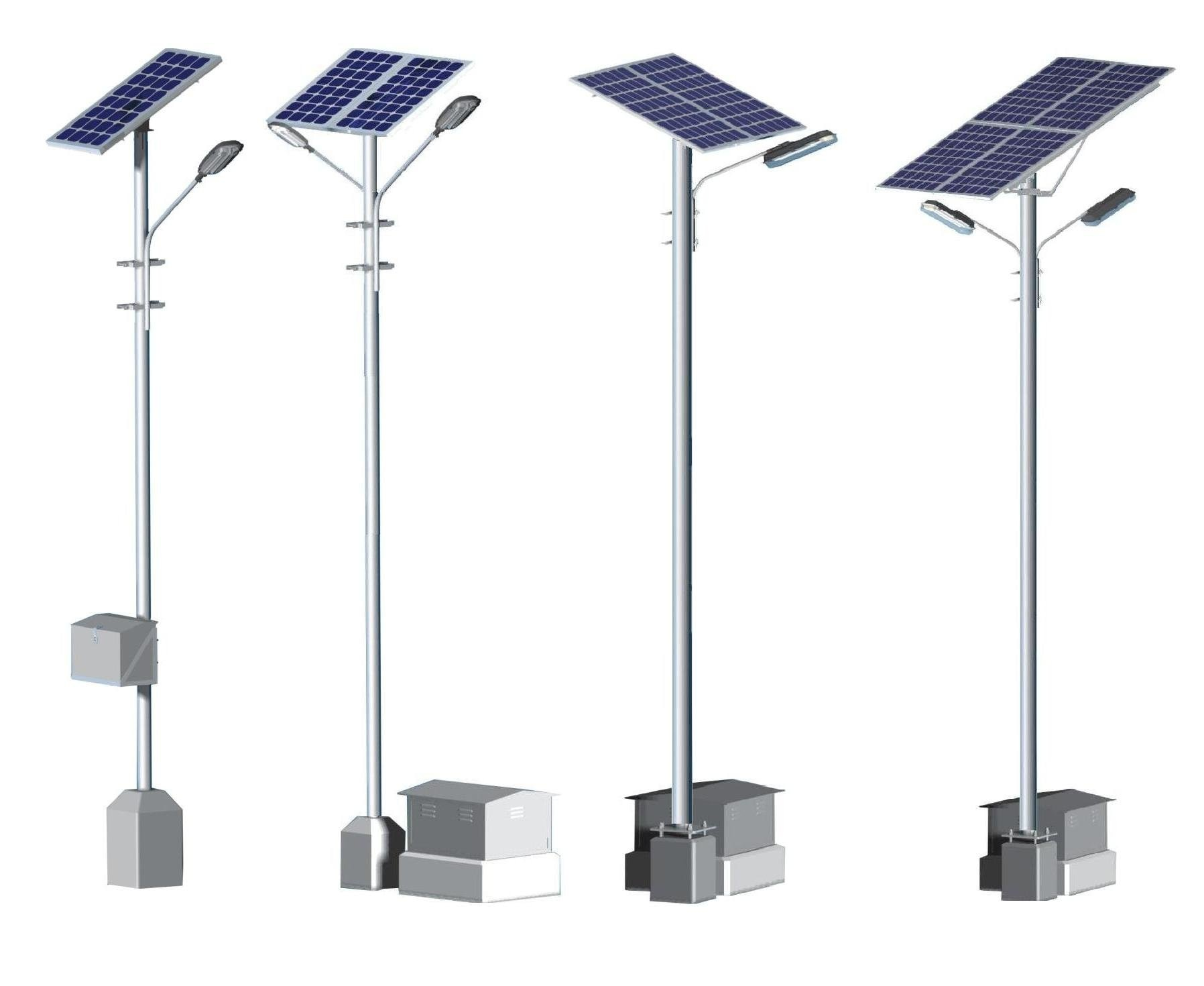 Some different design Photograph of Solar Street Light Poles . We can provide the same with complete Panel Structure, Street Light Bracket & Battery Box Stand.