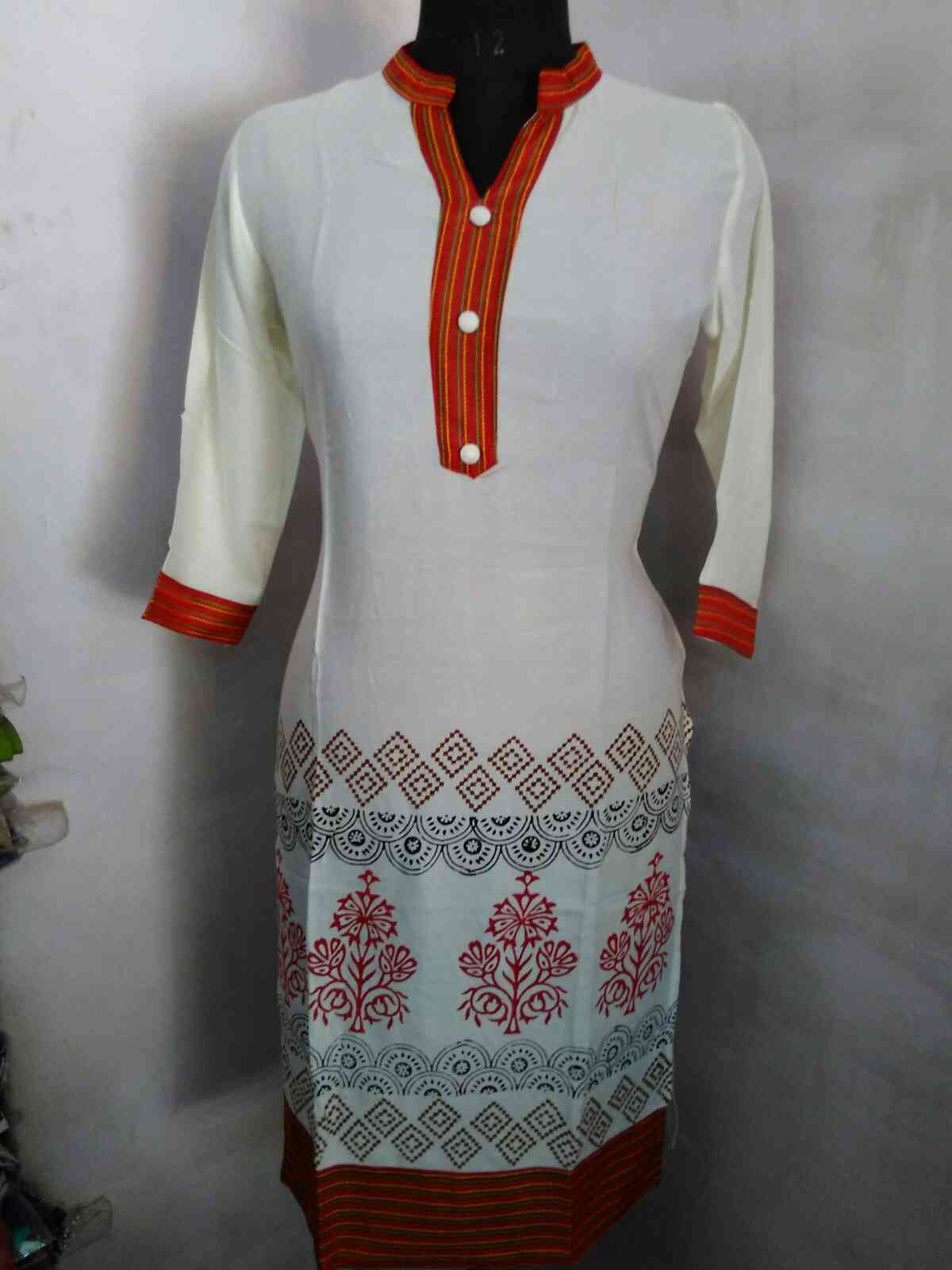 Rayon Hand block print in Traditional Print of Jaipur Kurtis we are the manufacturer of jaipuri Kurtis from krishnnaa trade fab for more information plz contact @ 9928671159