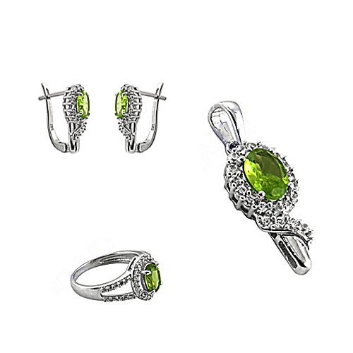 Cubic Zirconia & Peridot Silver Jewelry Set Product Code:AGSET-20139 Our Price:   US $ 21.63 Total Gross Wt:11.3 Gms  #GiftForJewellerySet #PerdiotWithCZSet #NewAntiqueCZSilverPendantSet  #TopQualityCzSilverPendantSet #NaturalCubicZirconiaSilverPendantSet