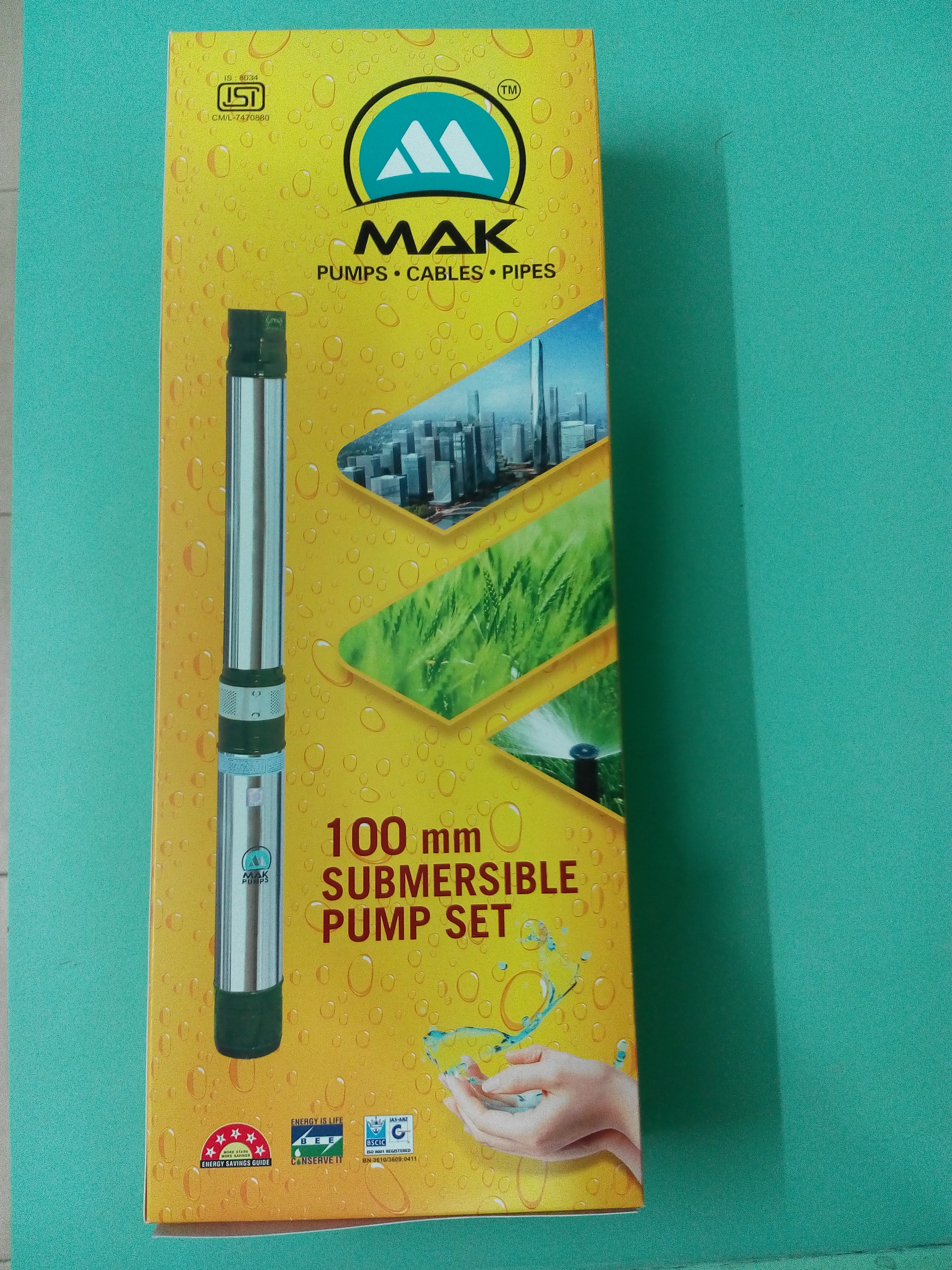 Mak Pump Industries manufacturers and exporters of Submersible Pumps and Motors are now pleased to supply 100 MM bore hole pumps in new design box.