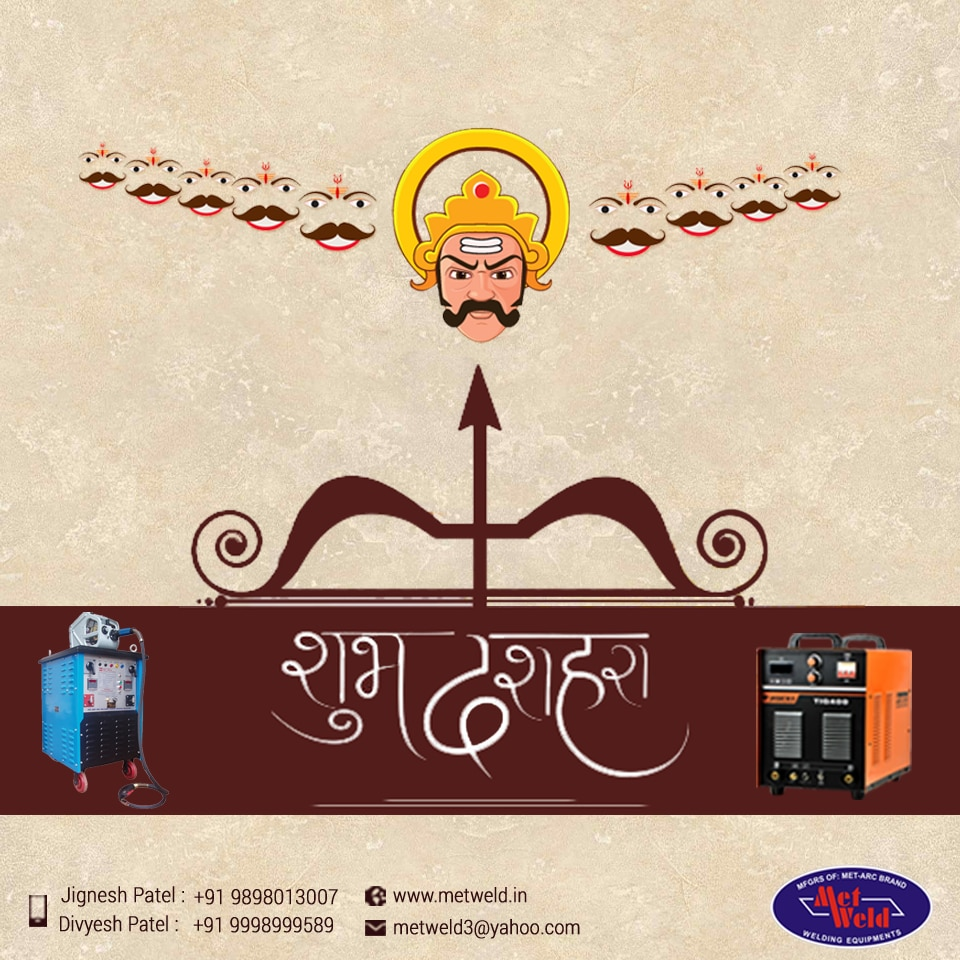 #Met-Weld is here to wish you a very prosperous and joyous #Dussehra. We make all efforts in helping you have the most enjoyable festive season by providing you the best products especially welding cables. Our #welding-cables are made using superior quality materials and they offer huge strength aimed towards fulfilling the requirements of the heavy fabrication, cement, thermal power, chemical and automobile industries. We are committed to offering superior quality to our clients and therefore we always offer sales after services. Using our welding cables means you can remain assured that your expectations are consistently met. We are the leaders serving the market boasting of competitive infrastructure and skilled manpower. Through our offering of superior quality products, we wish that your Dussehra is full of success and encouragement. Here's wishing you and your family all strength and power this festive season through the best welding cables, #welding-wires and #welding-machines.