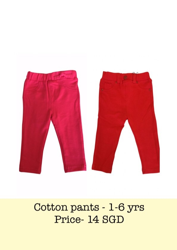 Shop for these bright & comfortable cotton pants for your active little girl from our collection!! Available in 2 colours- Red & Pink , & sizes-  1-6 yrs.   #Turquoise# # Singapore# # kidswear#