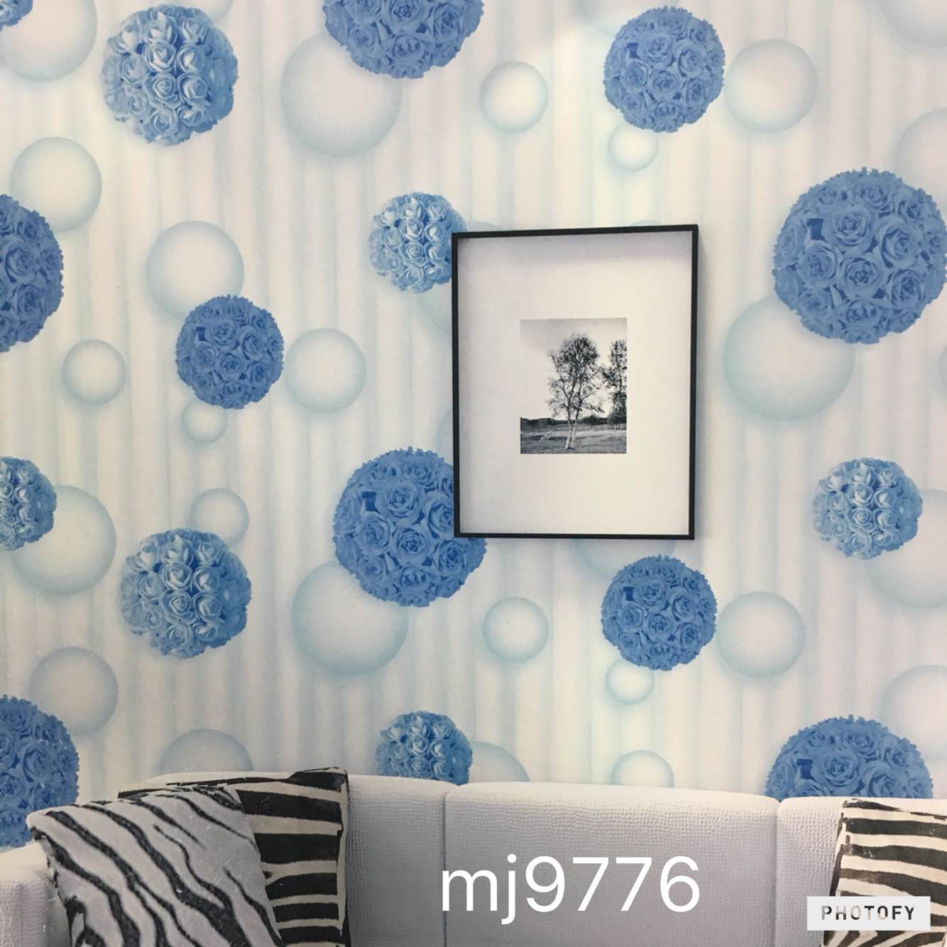 3D Wallpaper A Blue Of Balls Designs For Your Drawing Room Will Match The Interior