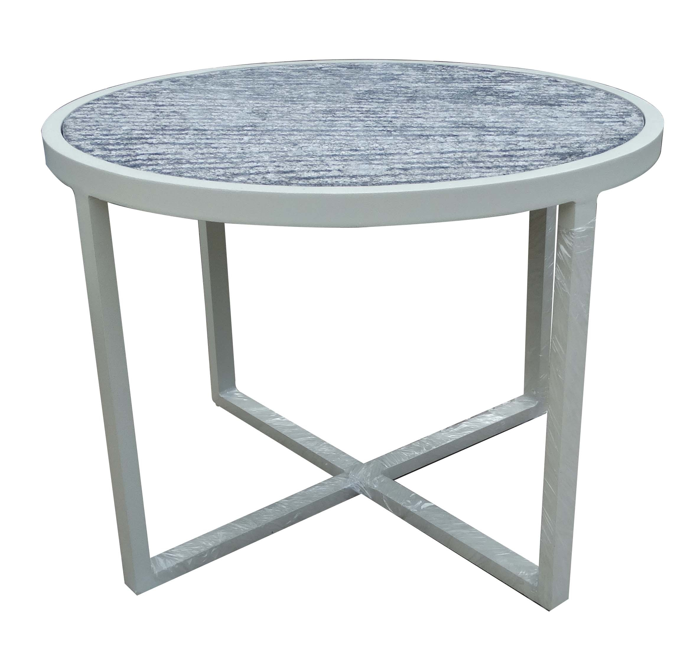 Round table with powder coated frame