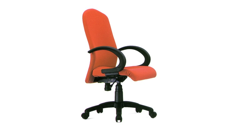 Staff Chair. Model: Flexi medium back revolving chair with cushioned seat and back rest upholstered with fabrics, permanent contact mechanism, fixed pp arm rest, gas lift for height adjustment, nylon base with twin nylon castor wheel. Rs.3000