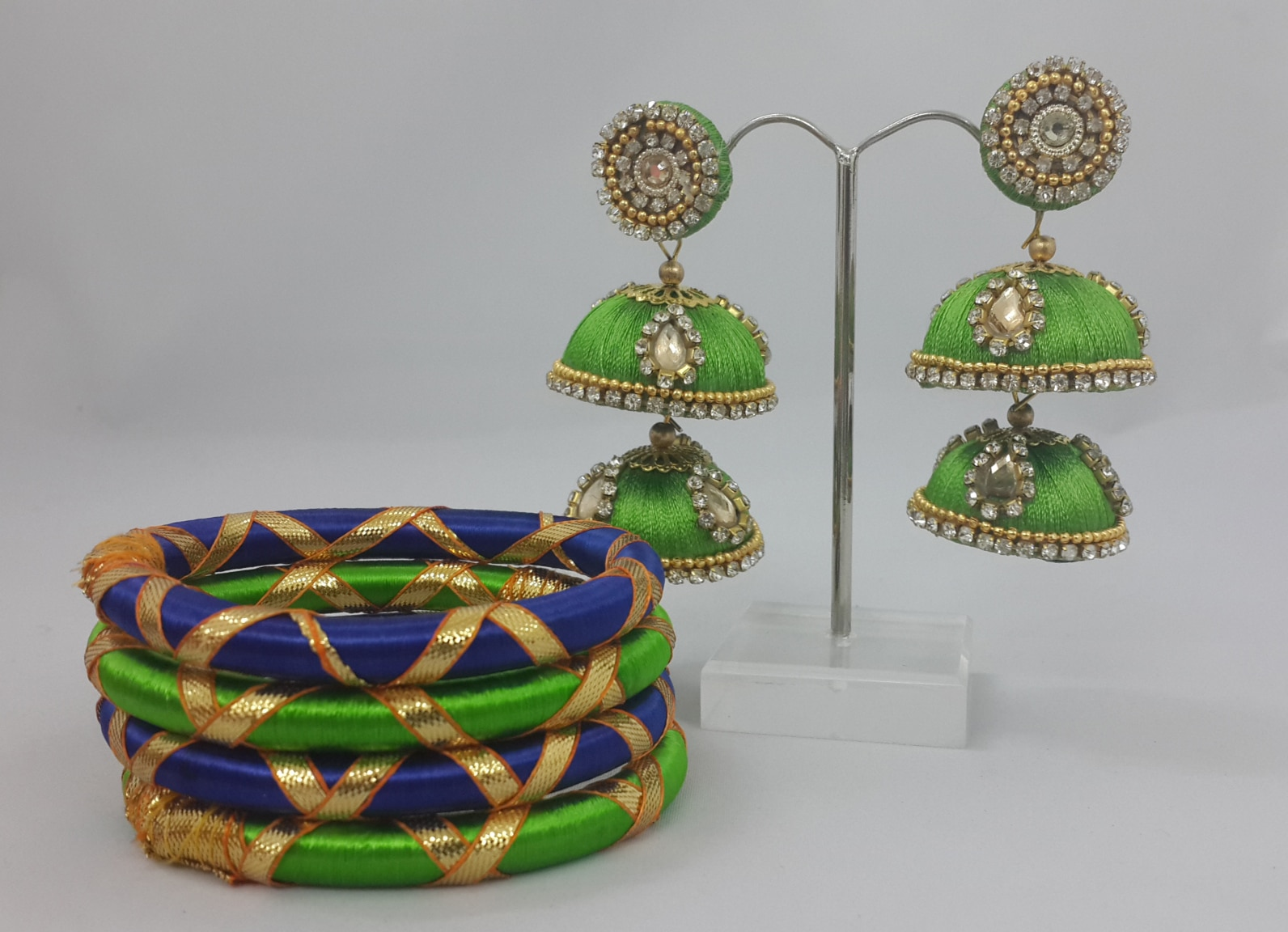 Manufacturers, Wholesalers, Exporters of all Type of Thread Jewellery, Bangles, Necklace, Earrings, Jhumkas etc Festival Jhumkas & Bangles  #Gift/Wedding/Party #US/UK/Malaysia/Australia/Singapore/Mauritius  For Inquiries call/Whatsapp us on +91 9672521511