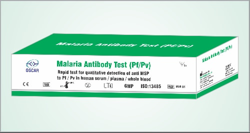 Oscar Malaria Antibody (Pf/Pv) Card test intended used for qualitative detection of antibodies of MSP- Pf (Plasmodium falciparum) and MSP-Pv (Plasmodium vivax) in human whole blood / serum / plasma as in aid of Malaria diagnosis. This test can be used for differential detection of antibodies of Pf and Pv.  It is for in-vitro diagnostic use only.  The test is based upon immuno-chromatographic principle. Recombinant MSP (Merozoit specific protein) of Pf and Pv have been used in the test formulation to make it highly sensitive and specific for antibody detection. Serum / plasma is preferred choice for testing but whole blood also can be used. Assay buffer is required along with serum / plasma for performing the test.   Oscar Malaria Antibody (Pf/Pv) Card test has shelf life of 24 months from date of manufacturing if stored at 2-30°C under sealed condition. Each kit of Oscar Malaria Antibody (Pf/Pv) Card test contains 50 pieces of individually sealed pouches containing test cards, buffer vials and disposable sample droppers. Test can be performed using 10µl of serum / plasma / whole blood followed by 1-2 drops of assay buffer and result can be read within 5-20 minutes.
