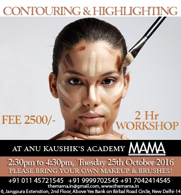 Contouring and Highlighting workshop in Delhi Ncr by International Makeup Artist  For more information login www.themama.in  Mama-Masters Academy of Makeup Art