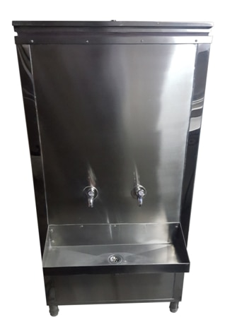 WATER COOLER   The Water cooler is a step towards better Hospitality. A lot of your customers may expect cold water at the time of service. Most of the fine dining outlets serve cold water. The industrial kitchen equipment comes in variable shapes and sizes. We also provide with Wall Mounted Water Coolers for customized kitchen solutions.   	The whole body of the commercial kitchen equipment is made out of SS 304 Steel. The Push Type Faucet is very sturdy and ensures zero wasteage of water via leaks or human errors. The drain tray is fitted with a Brass Waste Coupling. The compressor unit is of a reputed brand andis available with a replacement warranty.   	The storage capacity of the water cooler can range from 60 Liters to 250 Liters. The Water Chiller is provided with PUF insulation on all sides which allows the unit to perform smoothly without any loss of the temperature. The top service door is provided with locking arrangement. The Water Chiller is an ideal memberin a fine dining or a fast food outlet. Customized sizes are available as per requirement.