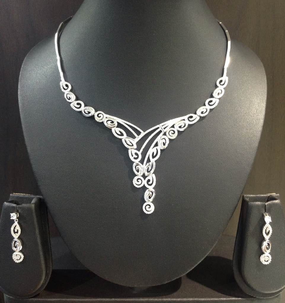 Sterling Silver Necklace set with Cubic Zirconia stones and anti tarnish polish finished with the consistency of white gold.