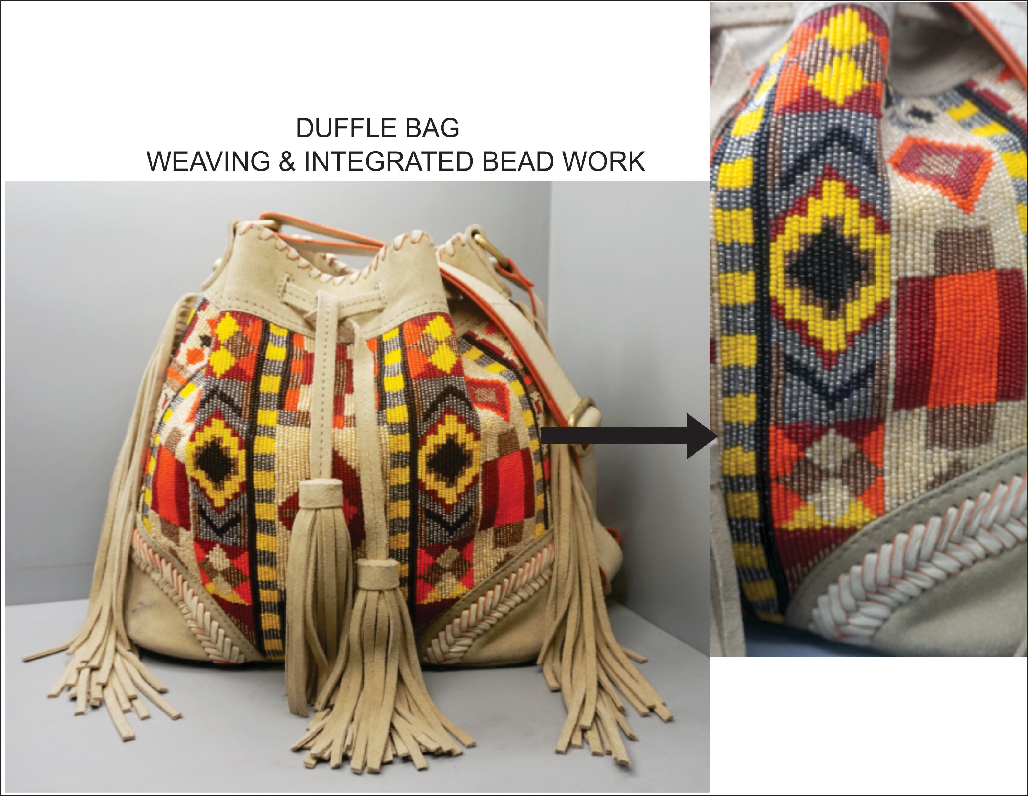 Manufacturer & Exporter Hi Fashion Leather , Fabric handbags and,  Small Leather Goods  Soft Cow leather Duffle Bag with weaving & Integrated Bead work  New Update Style by Bazaar Design team.
