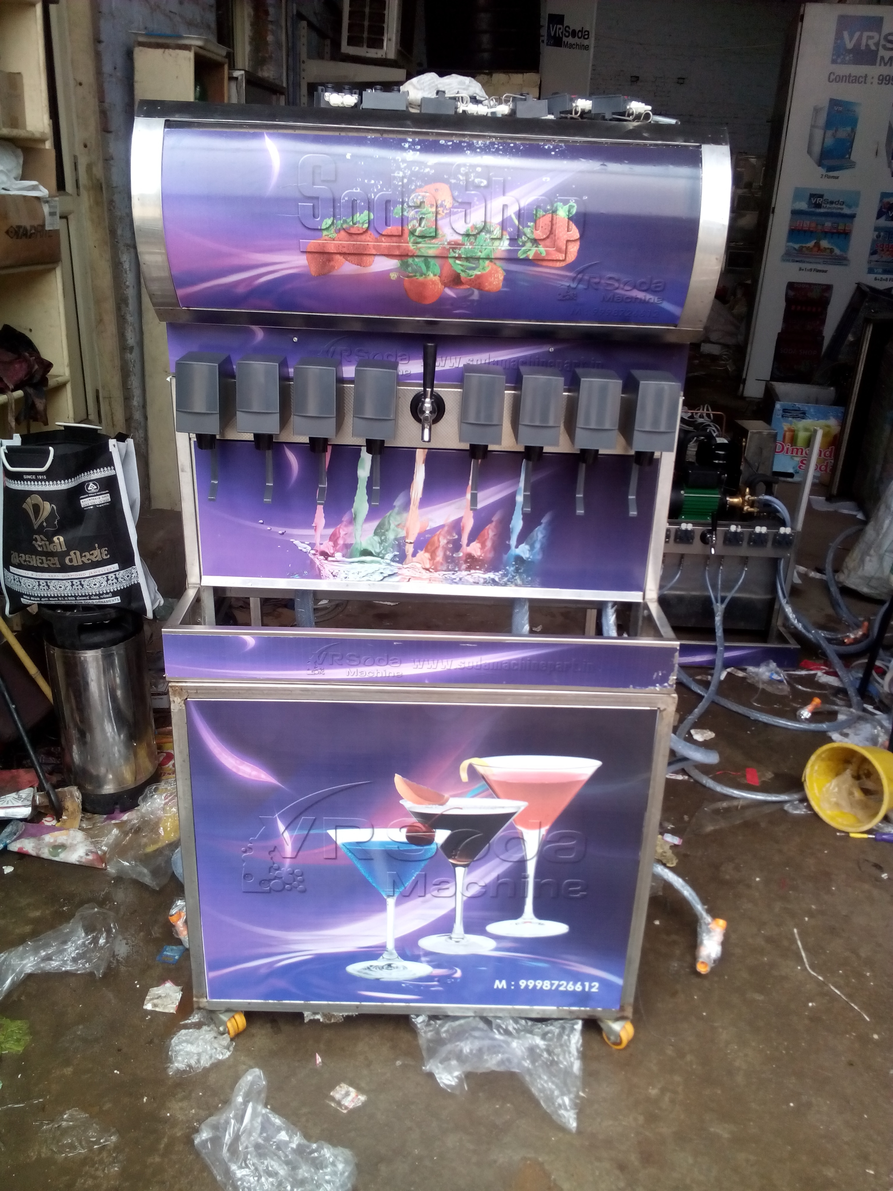 8+1, soda machine , 2 year warranty,  Transporting free, fitting free, flavor free, tool kit free, spare kit free only on Rs. 1, 40, 000
