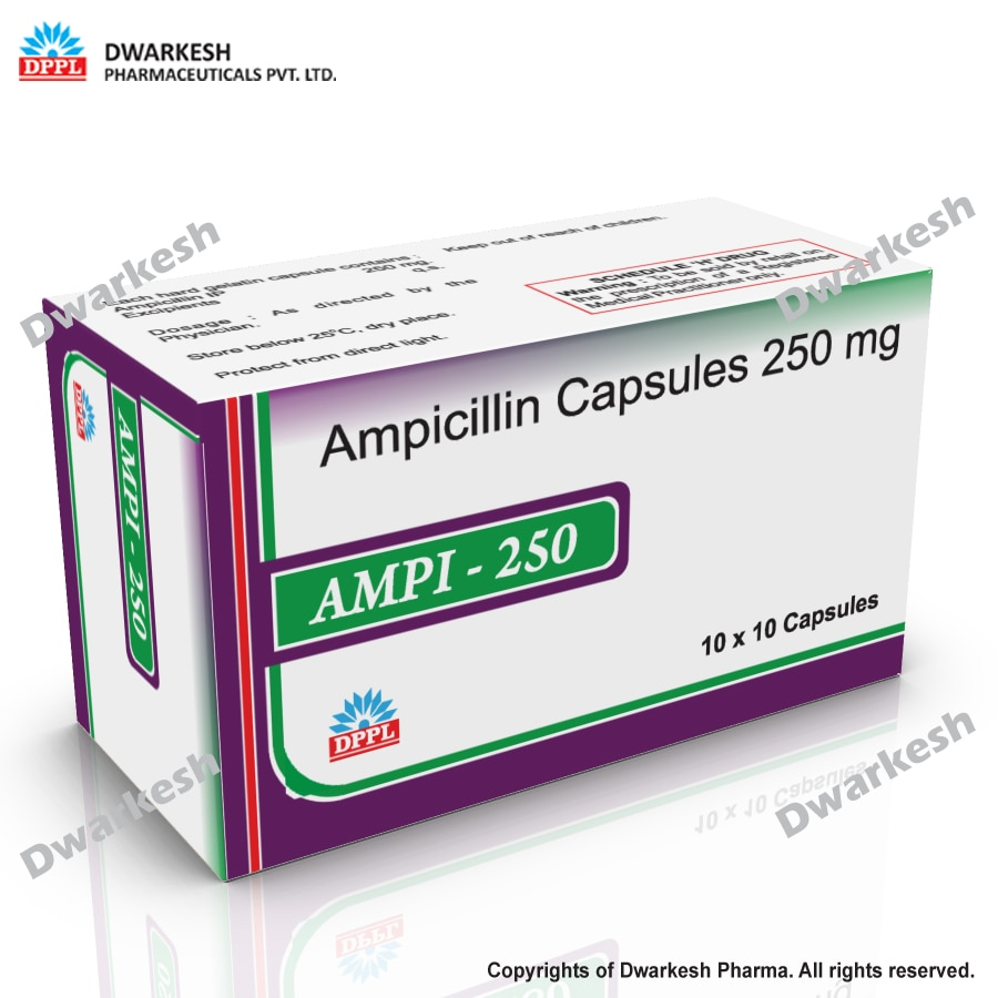 Dwarkesh Pharmaceutical Pvt. Ltd. serve third party contract manufacturing for Ampicillin Capsules 250 mg.