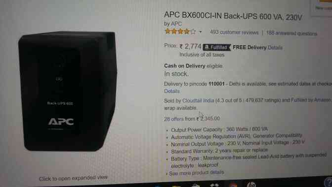 Apc Ups with output power capacity 360 watts /600 VA , Automatic voltage Regulation (AVR) , Generator compatibility , Normal Output Voltage ;230 V Nominal input voltage 230 V