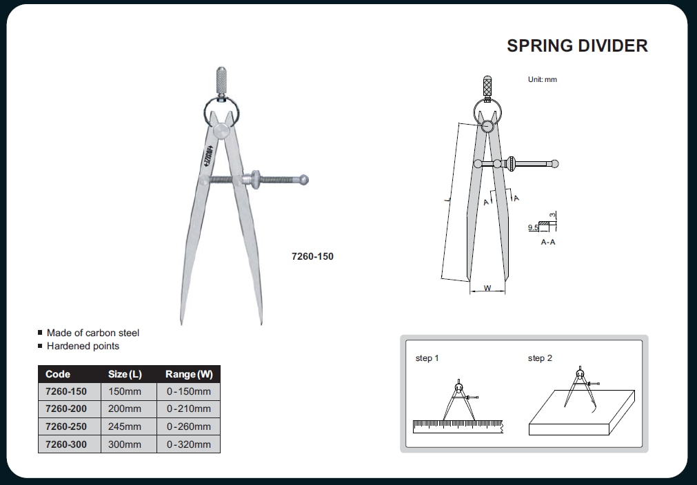 Spring Divider Code No: 7260-150 Size ( L): 150 mm Range(W):  0-150 mm For price & purchase  http://qualityneeds.in/spring-divider/p529