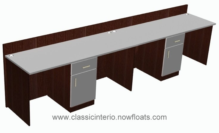 Office Furniture with drawer pedestals, in various colors, fully customized.