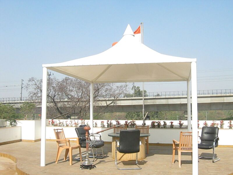 Tensile Gazebo in Noida  Tensile Gazebo can be used for rain and sunlight safety. It can also used for attend the meeting and small party for best place. Purchase Best Quality and Quantity from us. Please call us!!.
