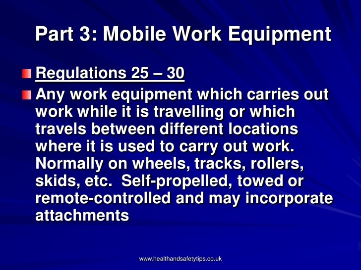Mobile work equipment - including self-propelled, remote-controlled work equipment - is subject to specific requirements in addition to the requirements for normal work equipment, which cover: •	the suitability of equipment used for carrying people •	the minimizing of rollover risk •	the provision of equipment..................................... coninue reading on:-https://asheimobileworkequipment.quora.com/   NEBOSH IGC REGISTRATION GOING ON FOR OCTOBER BATCH. FEW SEATS AVAILABLE. NEBOSH, IOSH, IADC RIGPASS, OSH DIPLOMA, CIEH, OHSAS, BSE LEVEL 6 etc...  RESERVE YOUR SEAT AND BECOME A SAFETY PROFESSIONAL....  ASHEI  An ISO 9001:2008 Certified - Environment Health and Safety Training Institute  IOSH|NEBOSH|CIEH|IADC Rigpass Accredited center @ Kochi  First Floor, Suprans Arcade, Aishwarya Road,  Opposite to Kaloor International Stadium, Palarivattom(PO), Ernakulam – 682 025  Phone : 0091 484 2343590  Mob : 91 85 928593 85  Email : info@asheinstitute.com, ashei.neena@gmail.com