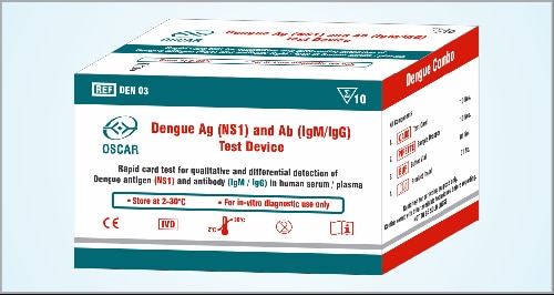 Oscar Dengue Ag+ Ab test is a rapid card test based upon lateral flow immuno assay for the qualitative and differential detection of NS-1 antigen and IgM / IgG antibodies to Dengue virus in human serum / plasma. Test device has dual strip system. The test strip for NS-1 test contains monoclonal antibodies as test line protein and colloidal gold is conjugated with monoclonal antibody to dengue virus. The test strip of IgM/IgG test is immobilized with anti human IgG, anti human IgG and control line protein and colloidal gold conjugate contains recombinant protein of Dengue.  Oscar Dengue Ag + Ab test is available in 10T pack. Each pack contains individually pouched test devices, sample droppers, buffer vial and product insert etc.   Dengue Rapid Card In Jaipur, Dengue Rapid Card In Rajasthan,  Oscar Dengue Card In Jaipur, Oscar Dengue Rapid Card In India Rapid Card Dealer In Jaipur, Rapid Card Dealer In Rajasthan, Rapid Card Dealer In India Raj Biosis Pvt Ltd