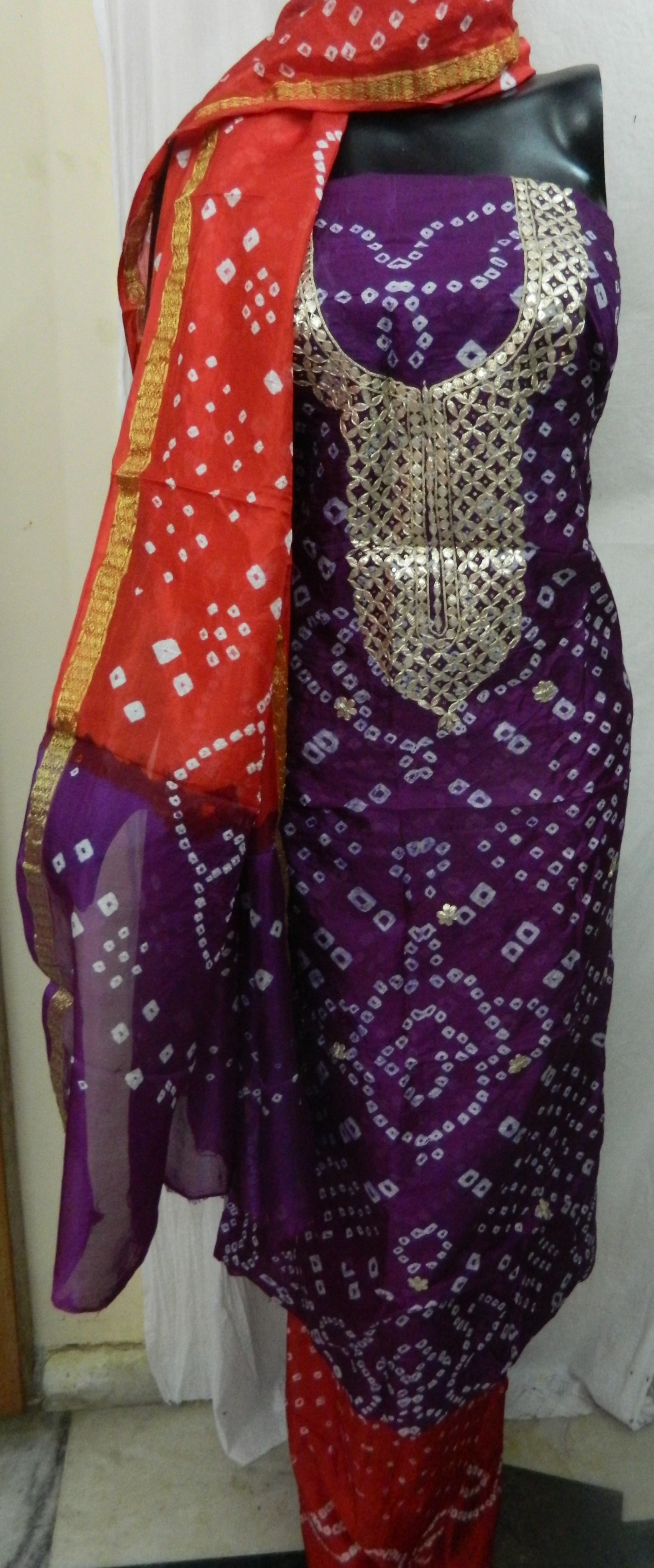 Hello,   Greetings from Aaditri Clothing from Jaipur. We are Manufacturer from Jaipur, Rajasthan.   Aaditri Bring To You Festival Offer.  Bandhej Art Silk Gota Patti Suit., .   Fabric  Top - Bandhej Art Silk  Bottom - Bandhej Art Silk  Dupatta - Bandhej Art Silk   Size -Top, Bottom, Dupatta- 2.5   Bandhej Art silk gota patti Suit in Different Color and many more items with effective & timely delivery.   Other Colour is available in this Design and Fabric.  You can order in Bulk than we will give you Best Prices.  You can order for Assorted Pieces or same pieces(as you like)   Contact us for booking  number: 7877866122(whatsapp)  8824796750(whatsapp)  7877966122(calling number)  E-mail Address:- aaditri.jaipur@gmail.com