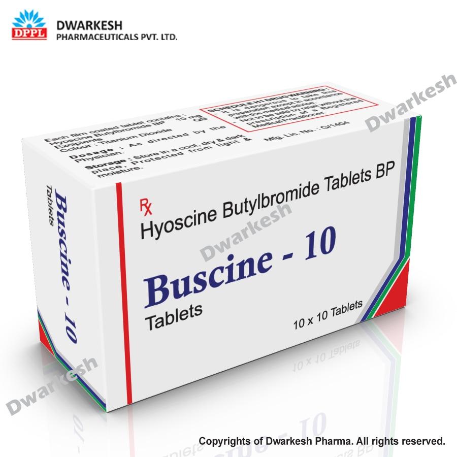 Dwarkesh Pharma is manufacturing of Hyoscine Butylbromide tablets BP.