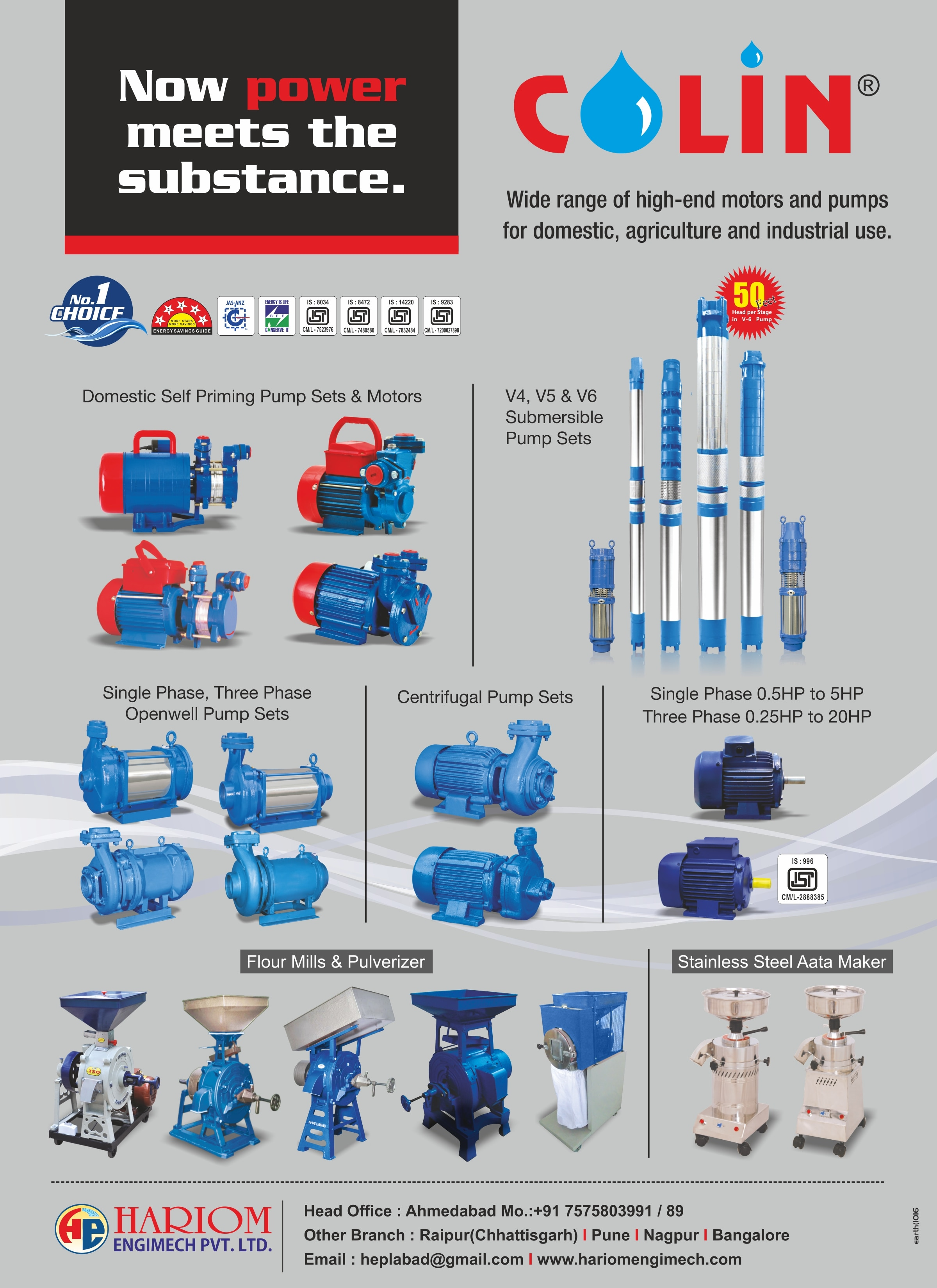Hariom Engimech pvt ltd - Colin pumps Motors & all type of Flour Mill..  Make your life easy with Colin products.  For more call on 7575803991 or click bellow link,  http://www.hariomengimech.com/