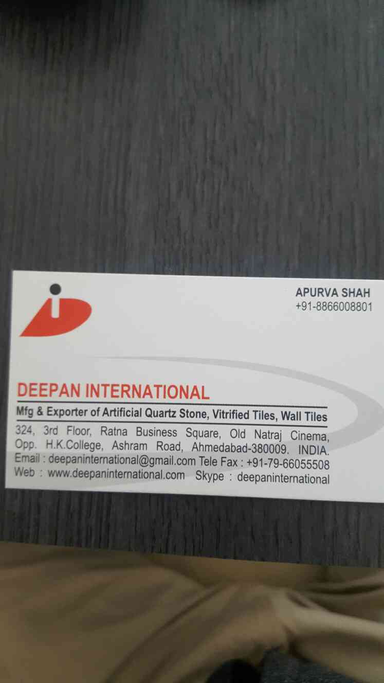 We are one of the finest and most trusted Trader of Artificial Quartz Stone, Vitrified Tiles, Wall Tiles in Bangladesh. We were established in the year 2011 in Ahmedabad city of Gujarat state and since then we are dealing in the most quality based products. Visit our Website for more info and business Email - deepaninternational@gmail.com OR Contact - +918866008801  Thanks!!