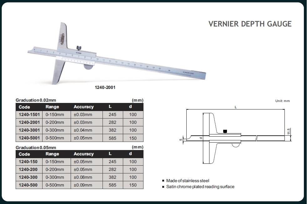 Vernier Depth Gauge  Code No: 1240-1501 Range: 0-150 mm For Price & purchase  http://qualityneeds.in/vernier-depth-gauge/p588