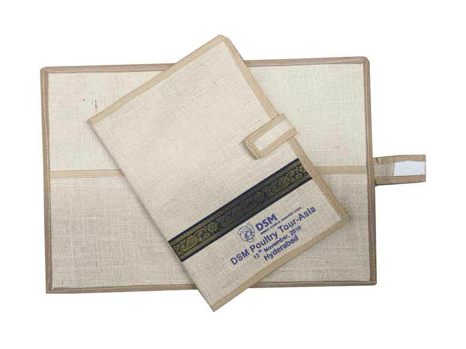Jute file folders for office conferences, meetings, workshops and all. For more models and designs contact us on www.indianjutebags.com, in face book- indianjutebagshyd