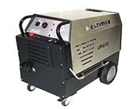Line URANO  professional steam/hot water is built on a strong black epoxy painted frame,  with 2 fixed and 2 pivoting wheels. It is produced with covers in STAINLESS STEEL AISI 304.Available also with voltage at 60 HZ