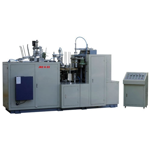 Ultrasonic Paper Cup Forming Machine  Product Description: We are among the renowned manufacturers, exporters and suppliers of Ultrasonic Paper Cup Forming Machine. Used for making super sized paper cup, these efficient machines operate in a series of steps that include paper-feeding, cup-fan-wall sealing, oiling, bottom-punching, heating, rolling, rimming, rounding and tripping. Suitable for making drinking cups, ice-cream cups and other food cone-shaping containers, these find a massive application in making one side coated paper cups.   Features:  Superior performance High production rate Ruggedly constructed   Additional Information: Item Code: JBZ-A22  Ultrasonic Paper Cup Forming Machine Manufacturers In Coimbatore Leading Ultrasonic Paper Cup Forming Machine In Coimbatore Ultrasonic Paper Cup Forming Machine In Kerala