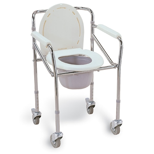 Commode Chair folding with adjustable height (with wheels) - 696 Features: Foldable Chromed Steel Frame Fixed Armrest Solid Rear Castor Wheel with Lock Plastic Commode Seat Also Available in Without wheels and without adjustable