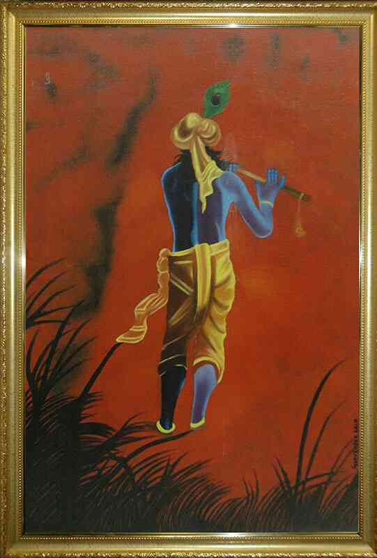 The Krishna Buy the Original Oil Painting in 24X36 inches framed by artist Gurvinder Puri. The Lord Krishna telling us to surrender completely  ourselves n all our problems to him;  trust him  n follow Him.. He is leading us to d light;  to d right path;  we just need to follow him blindly. Get Original Paintings from The Art Spa. http://theartspa.in/category/oil  Call Sudha at 8828200072