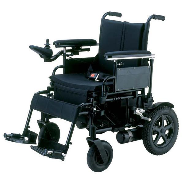 Motorized wheelchair A motorized wheelchair, powerchair, electric wheelchair or electric-powered wheelchair (EPW) is a wheelchair that is propelled by means of an electric motor rather than manual power. Motorized wheelchairs are useful for those unable to propel a manual wheelchair or who may need to use a wheelchair for distances or over terrain which would be fatiguing in a manual wheelchair. They may also be used not just by people with 'traditional' mobility impairments, but also by people with cardiovascular and fatigue-based conditions. Design Powerchair design may be categorized by drive system/chassis, battery, controller, seat, and use. Drive System/Chassis Powerchairs are generally four-wheeled or six-wheeled and non-folding, however some folding designs exist and other designs may have some ability to partially dismantle for transit. Four general styles of powerchair drive systems exist: front, centre or rear wheel drive and all-wheel drive. Powered wheels are typically somewhat larger than the trailing/castoring wheels, while castoring wheels are typically larger than the castors on a manual chair. Centre wheel drive powerchairs have castors at both front and rear for a six-wheel layout. Battery The electric motors of powerchairs are usually powered by 12 to 80 ampere-hour rechargeable deep-cycle batteries, the smaller batteries are used in pairs to give the chair enough power to last at least one day between charges. These are available in wet or dry options. As wet-cell batteries may not legally be carried on an aircraft without removing them from the wheelchair and securing them in a shipping container, dry-cell batteries are preferred for powerchair use. Many powerchairs carry an on-board charger which can be plugged into a standard wall outlet; older or more portable models may have a separate charger unit.  Controller A typical joystick controller Controllers are most commonly an arm-rest mounted joystick which may have additional controls to allo