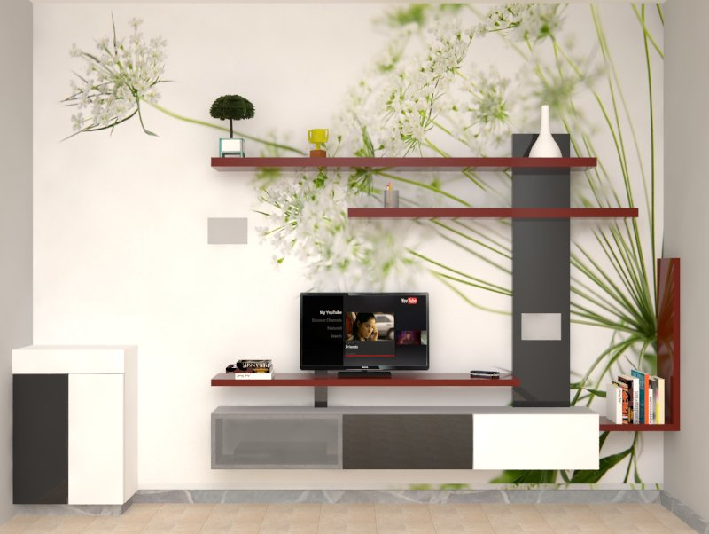Interior Designers in Chennai. We prove ourselves as the best interior designer for any types of houses, offices, residential apartments and flats, commercial showrooms, shops, malls etc. For this house at Anna Nagar, Chennai we designed the interior of living rooms, bedrooms, pooja rooms, kitchen and bathrooms in a small budget. In this living room the wall is painted like a branch of a tree as it grows. This aesthetics design attracts the visitors eye as they feel the natural atmosphere feeling under the tree. The wardrobes and clamps are designed as per the client's requirements. For this type of Living room Interior Designing feel free to contact us.