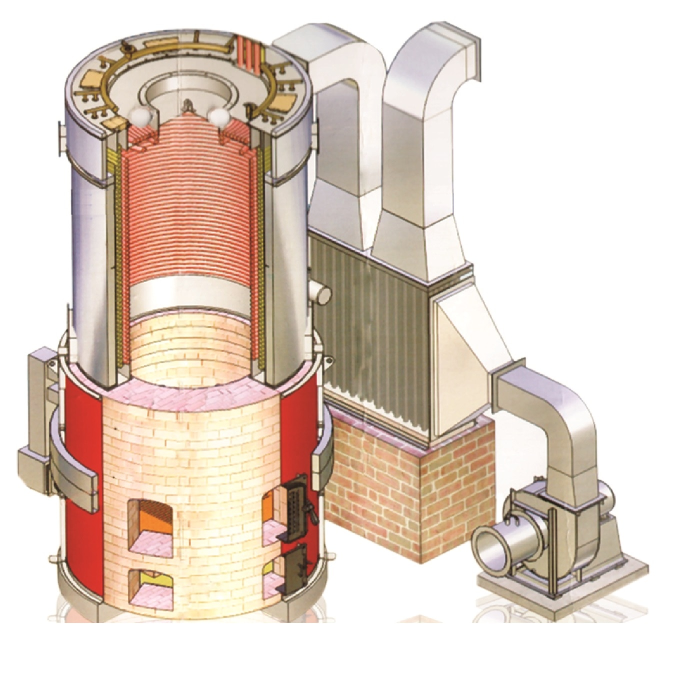 Sectional view of Cyclonic Combustion Heat Exchange Unit