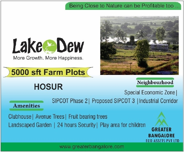 Lush Green Farm Plots adjoining a pristine scenic lake. Just off NH7 At Shoolagiri, Hosur near new TOYOTA plant.  http://greaterbangalore.com/projects/current-projects/green-county/