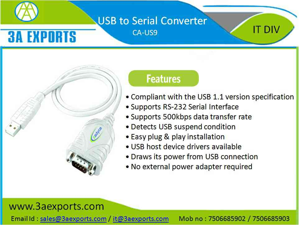Supplier of Cadyce brand Usb to Serial Converter in Mumbai, India.  Call for best price and attractive trade schemes.....