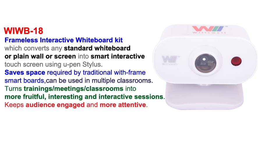 Interactive Whiteboard WIWB-18 from Willswell Technologies. Say good bye to Bulky framed Smartboards. Let the installed Projector turn into Interactive Board Display. The WIWB-18 is an IR based Camera Kit which is kept on the projector with help of velcro sticker. Based on the projector model, user can chose either long throw or short throw Interactive Whiteboard kit that converts plain surface into an Digital Interactive Touchboard display ising rechargeable E-Pen stylus. Low cost alternative to Interactive Whiteboard in India  Please click for more information, please visit:  http://willswell.com/download.aspx?id=10