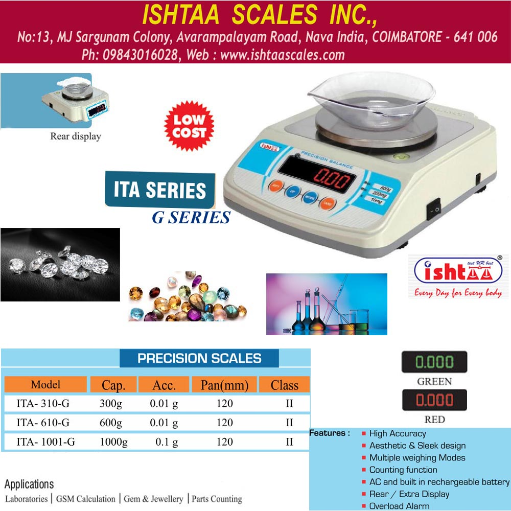 ISHTAA- ITA – G series Capacity : 300gm & 600gm  Accuracy : 0.01g Body: ABS Display: LED 0.56mm ( Red & Green )  Features #Counting Function #Overload Alarm # High Accuracy #Rear & Extra Display   #JewelryweighingscaleScale #GSMCalculationweighingScale #Piececountingweighingscale #HighPrecisionWeighing Scale #GoldWeighingScale #LaboratoryScale #Highaccuracyweighingscale #WeighingScales #Accurateworld #Coimbatore