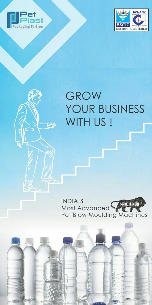 PET PLAST INDIA be lives in Make In India and proud to say our complete range Fully Automatic PET Blowing Machine to 20ltr PET Jar Machine 100%Indigenous.