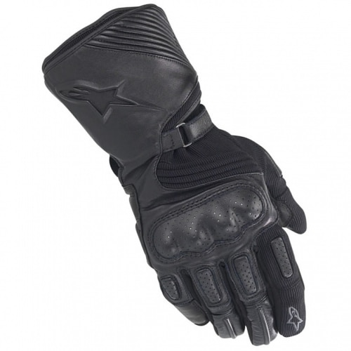 ALPINESTARS APEX DRYSTAR GLOVES  A mix of leather and textile provides a comfortable feel for the city commuter or easy touring rider. The Apex glove features an extra warm and cozy thermal velour liner combined with Alpinestars 100% waterproof and breathable Drystar® membrane to keep cold and wet weather away from hands.  Features:  ·         Goat skin glove chassis with padded textile palm reinforcements.  ·         Molded PU knuckle and foam padding on fingers.  ·         Ultra flexible accordion textile on top of hand and around thumb.  ·         Full length wrist gauntlet with dual wrist adjustment and accordion panel on long wrist closure tab.  ·         Soft, insulated velour lining.  ·         Heat molded, foam injected Astars logo and Astar rivet on wrist strap, embroidered Astars logo on forefin